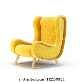 yellow armchair isolated on a white. 3d illustration