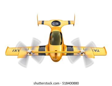 Yellow autonomous flying drone taxi isolated on white background. 3D rendering image.