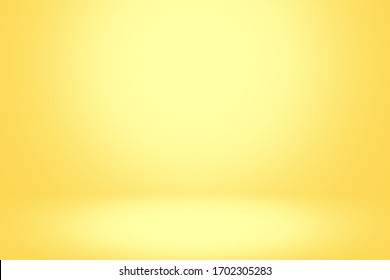 Yellow background abstract with light bright white color. 3d. room studio gradient yellow and empty wallpaper backdrop. blur background. Texture for product show. color summer tone