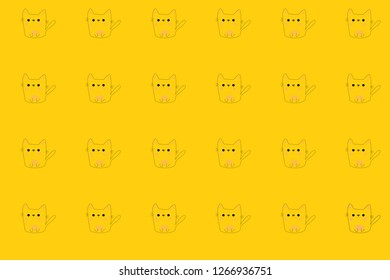 Yellow background full of little cats. Drawing cat.