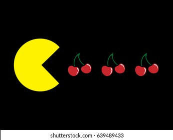 Yellow ball and cherry on a black background