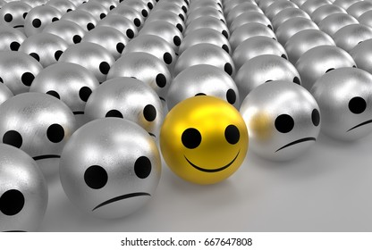 Yellow ball with happy face among so many silver sadness balls. 3D rendering.
