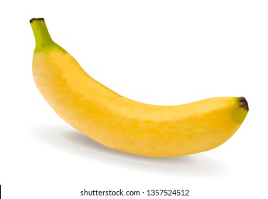 Yellow banana isolated on white background. illustration in realistic style