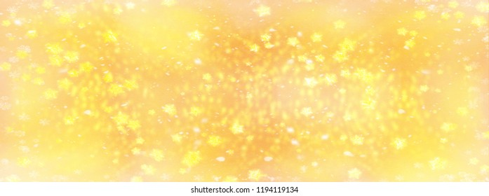yellow banner with golden stars and glitter as background