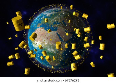 yellow barrels of nuclear waste orbit the planet earth