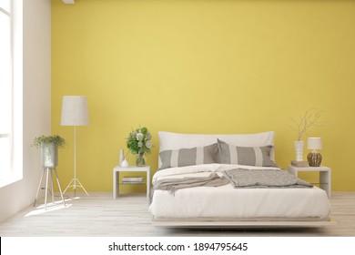 Yellow bedroom interior. Scandinavian design. 3D illustration