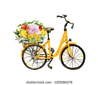 Yellow bicycle with flowers in basket. Watercolor