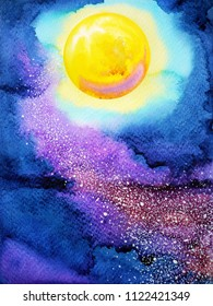 yellow big full moon on dark blue night sky watercolor painting illustration design hand drawn
