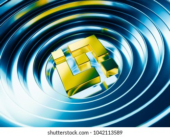 Yellow Binance Coin Cryptocurrency Symbol On The Blue Color Background 3D Illustration Of