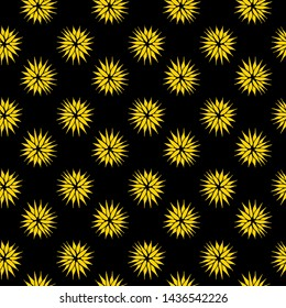Yellow and black abstract spikey floral pattern. Seamless