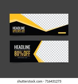 Yellow And Black Banner set. Web banner design. Brochure template. Facebook cover. Gift card, sale voucher. vector illustration