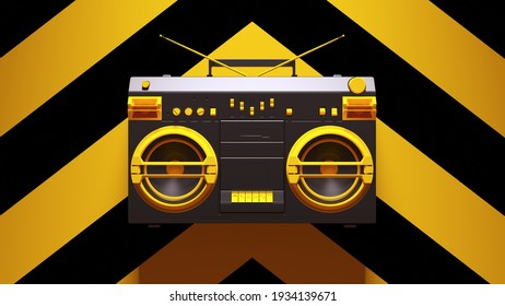 Yellow Black Boombox Post-Punk Stereo with Yellow an Black Chevron Background 3d illustration render