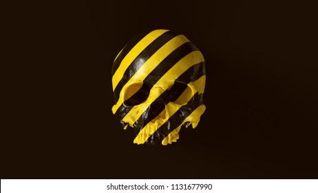 Yellow and Black Chevron Hazard Pattern Skull Front 3d illustration  skull scan scsuvizlab CC Attribution