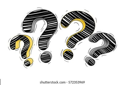 Yellow and black hand drawn question marks on white background