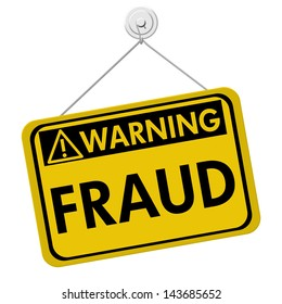 A yellow and black sign with the word Fraud isolated on a white background, Warning of Fraud