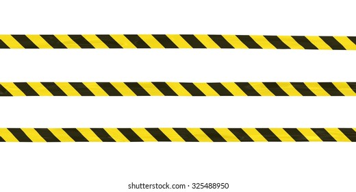 Yellow and Black Striped Hazard Tape Lines Isolated on White