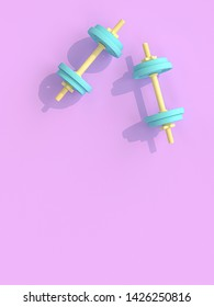yellow and blue dumbbells on violet background. 3d render image, style flat lay.