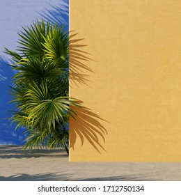 Yellow and blue painted walls with green tropical leaves, sunlight with shadows. Summer, spring background. 3d rendering.