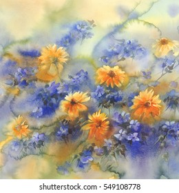 yellow blue summer flowers watercolor