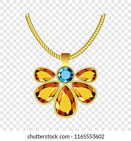 Yellow and blue topaz jewelry icon. Realistic illustration of yellow and blue topaz jewelry icon for on transparent background
