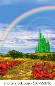 The yellow brick road leading to the Emerald City in the land of Oz. Wizard of oz background.