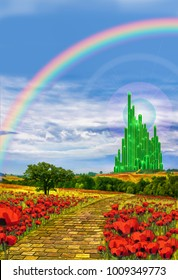 The yellow brick road leading into the Emerald city in the land of oz.
