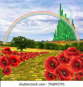 Yellow brick road leading to the Oz or the Emerald City