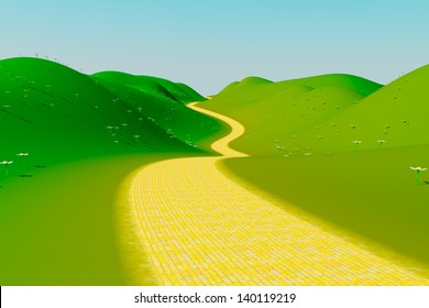 A yellow brick road on a summer day. Winding through green hills into the distance.