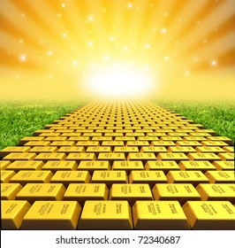 Yellow brick road symbol represented by gold bricks with a vanishing perspective.