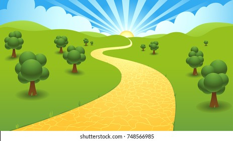 A yellow brick road winds into the distant hills and sunset background scene.