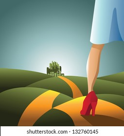 Yellow Brick Road. Woman on the road to the emerald city. JPG