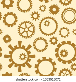 yellow and brown seamless pattern with gears - industrial seamless backgrounds