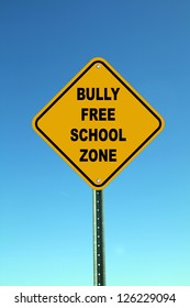 Yellow Bully Free School Zone Road Sign