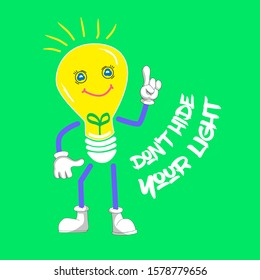 The yellow burning lamp wishes to burn always. I am a bright picture of a light bulb on a green background. don't hide your light