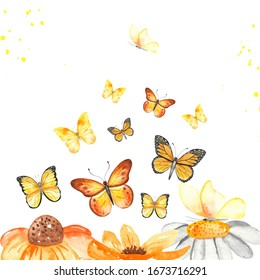 Yellow butterflies and flowers. Watercolor hand painted composition.