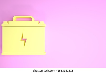 Yellow Car battery icon isolated on pink background. Accumulator battery energy power and electricity accumulator battery. Lightning bolt. Minimalism concept. 3d illustration 3D render