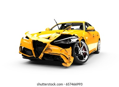 Yellow car crash on a white background isolated on a white background