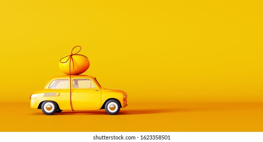 Yellow car with egg on the roof, Easter concept background 3D Rendering, 3D Illustration