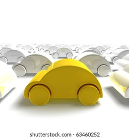 yellow car traffic - 3D render