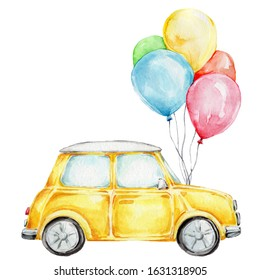 Yellow cartoon car with colorful balloons; watercolor hand draw illustration; can be used for cards; with white isolated background