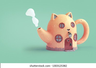 Yellow cartoon cat house in shape of teapot with round wooden windows.Teapot with steam from spout. Amazing fairy house with cat ears and a large antique wooden door. 3d rendering on green background.
