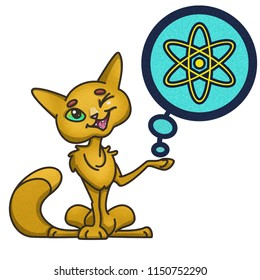 Yellow cartoon cat shows an icon of an atom