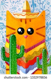 Yellow cat in sombrero among cactuses portrait illustration. watercolor hand drawn