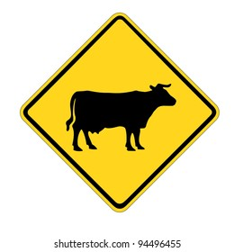 Yellow cattle traffic warning  sign isolated on white background
