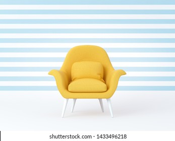 Yellow chair isolated on striped blue white background. Summer time, cheerful mood, joy, smiling, happiness. 3d render