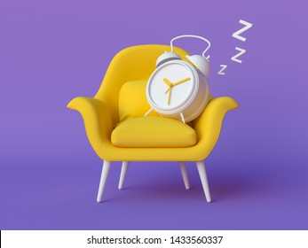 Yellow chair and old white alarm clock  on isolated violet background. Minimal abstract wallpaper concept. Flat lay. 3d render