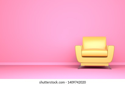 Yellow chair on the pink background. 3D illustration