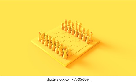 Yellow Chess Board and Pieces 3d illustration 3d rendering
