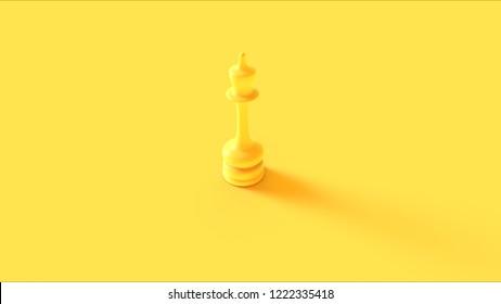 Yellow Chess Queen Piece 3d illustration 3d rendering