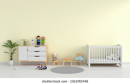 Yellow child bedroom interior for mockup, 3D rendering
